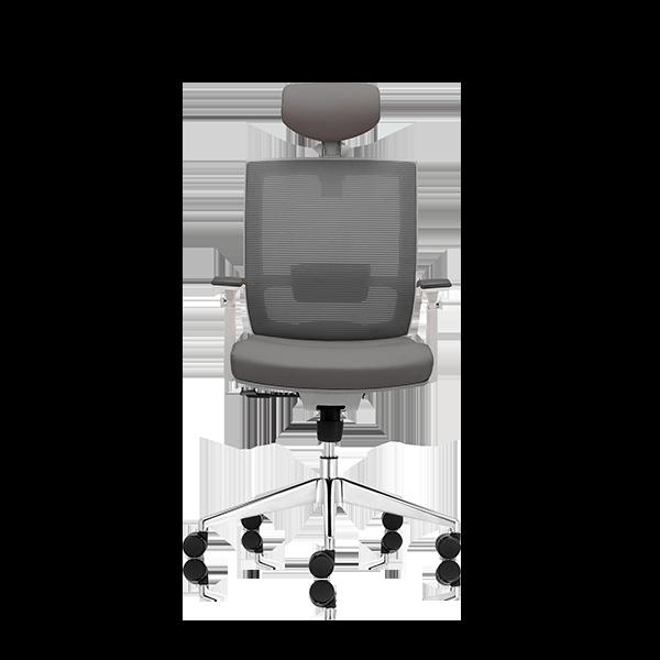 Silla de escritorio Axis gris claro con cabecero y base aluminio
