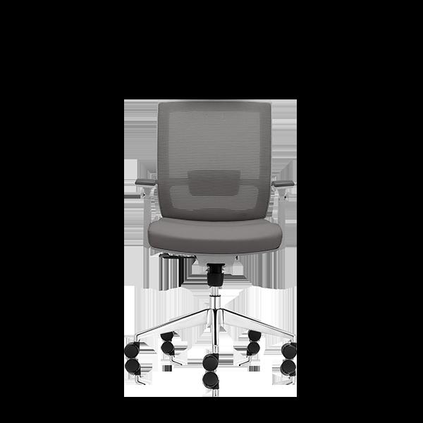 Silla de escritorio Axis gris claro y base aluminio