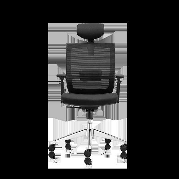 Silla de escritorio Axis negro con cabecero y base aluminio