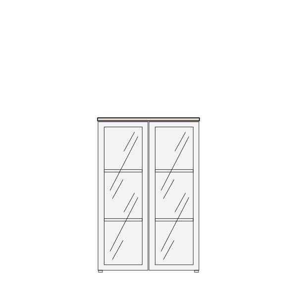 Biblioteca con puertas de vidrio altura 122 cms