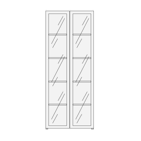 Biblioteca con puertas de vidrio altura 199 cms