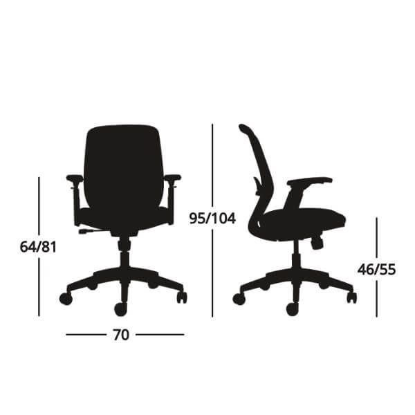 Medidas Silla de escritorio operativa Grace