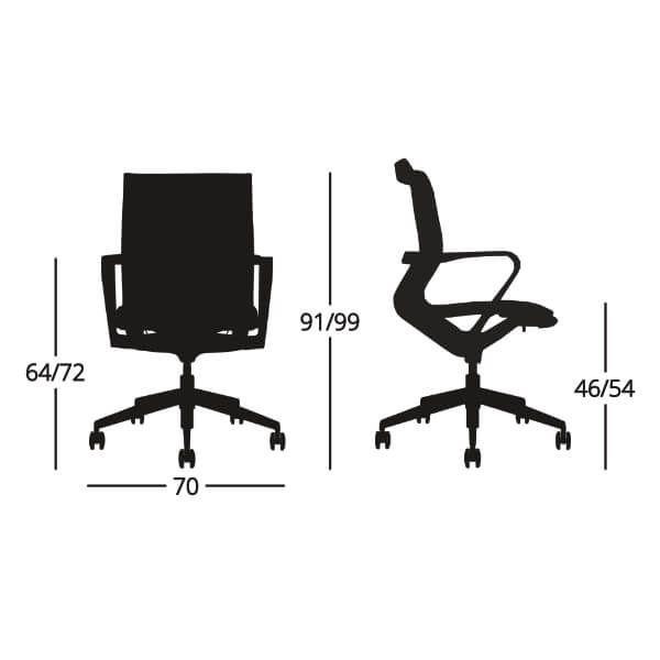Medidas Silla de escritorio ergonómica Eros media
