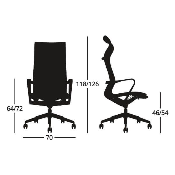 Medidas Silla de escritorio ergonómica Eros alta