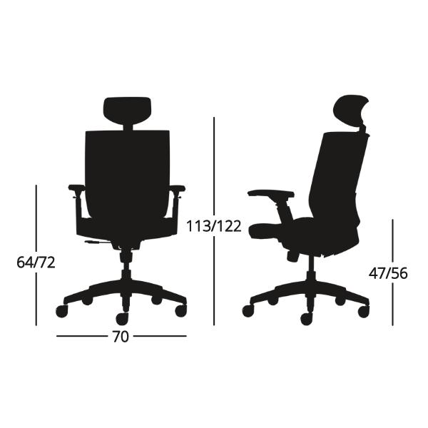 Medidas Silla de escritorio Axis con cabecero