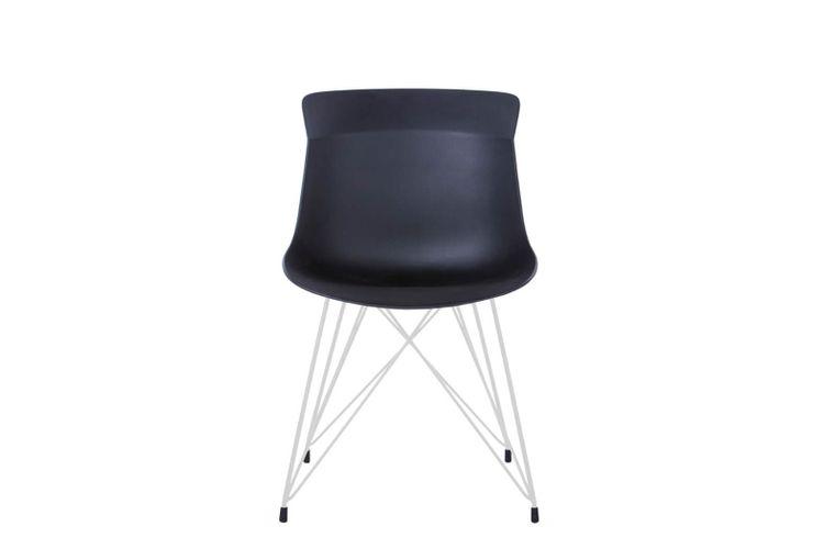 Silla de oficina multiuso Greta negra con patas metálicas blancas