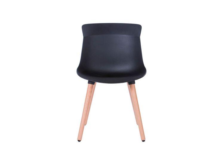 Silla de oficina multiuso Greta negra con patas de madera