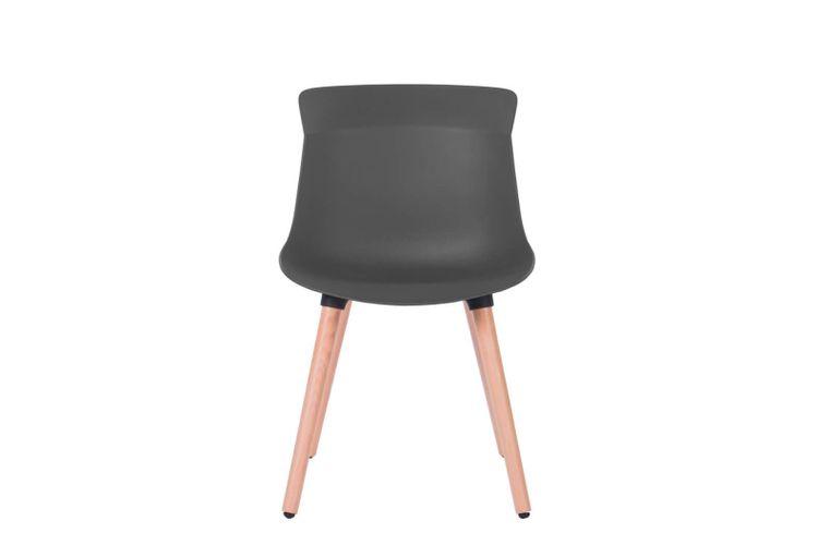 Silla de oficina multiuso Greta gris con patas de madera