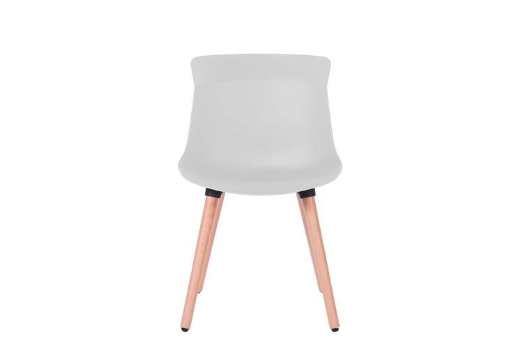Silla de oficina multiuso Greta blanca con patas de madera