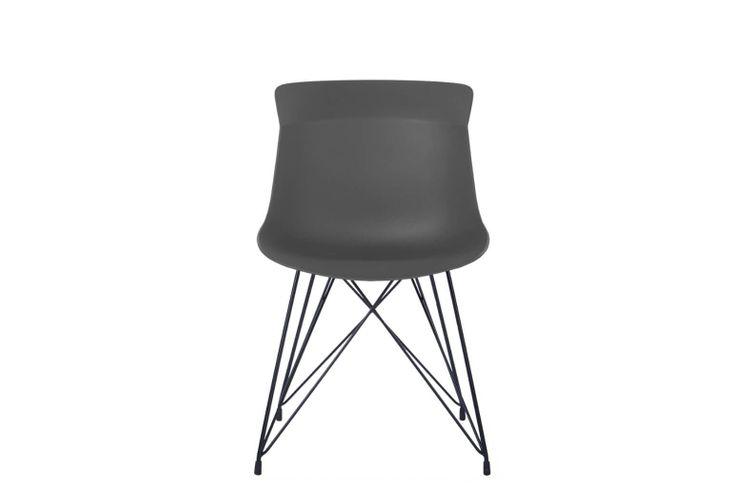 Silla de oficina multiuso Greta gris oscuro con patas metálicas negras