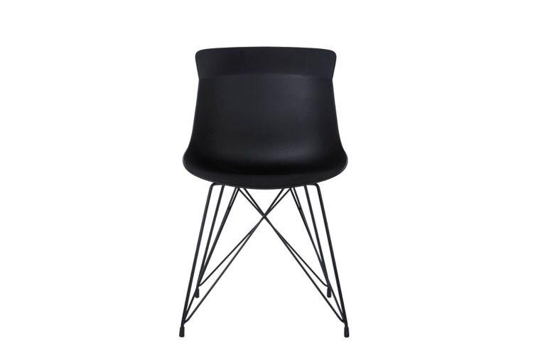 Silla de oficina multiuso Greta negra con patas metálicas negras