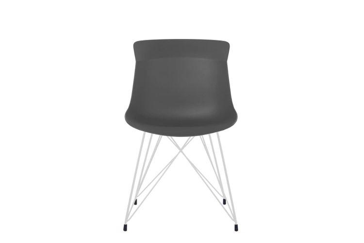 Silla de oficina multiuso Greta gris oscuro con patas metálicas blancas