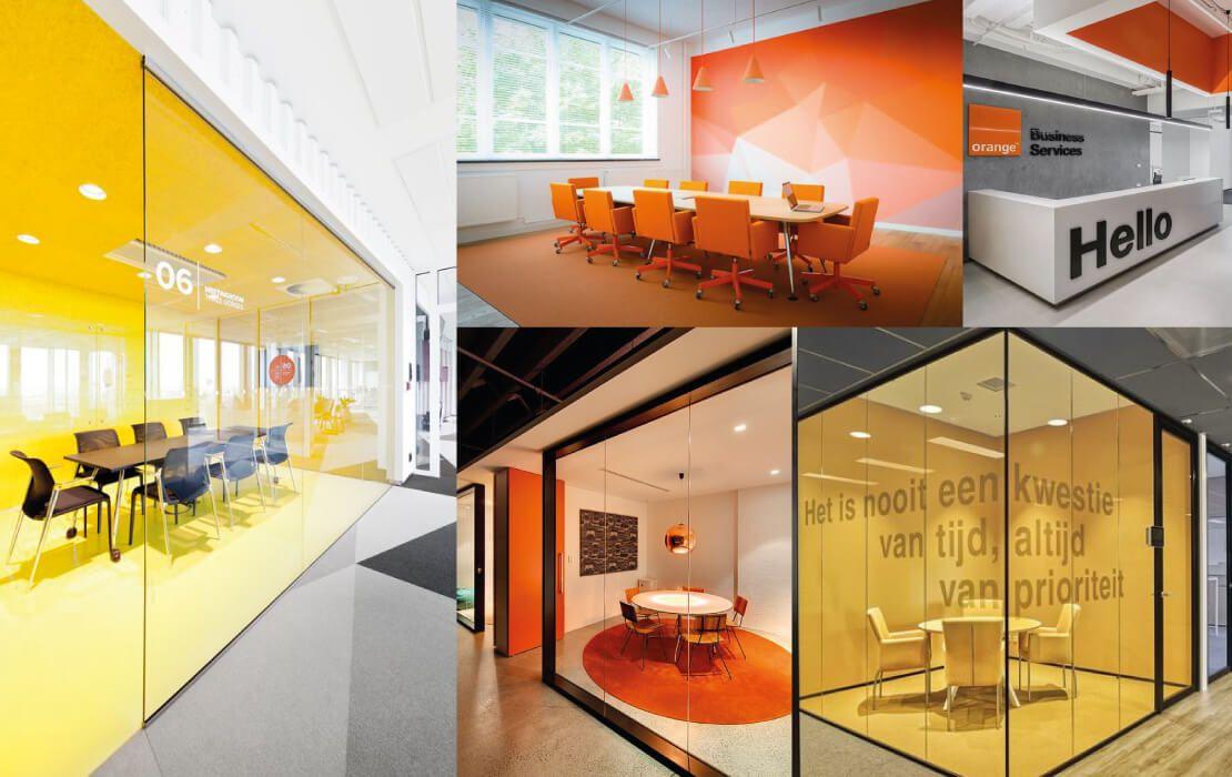 oficinas amarillas y naranjas